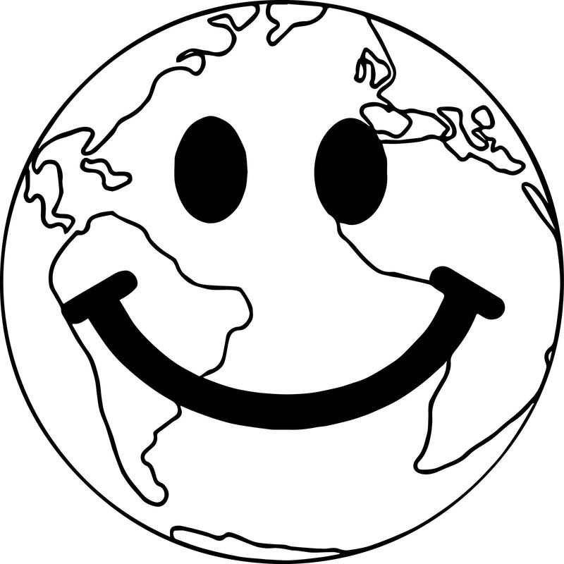 Smile Earth Globe Coloring Page