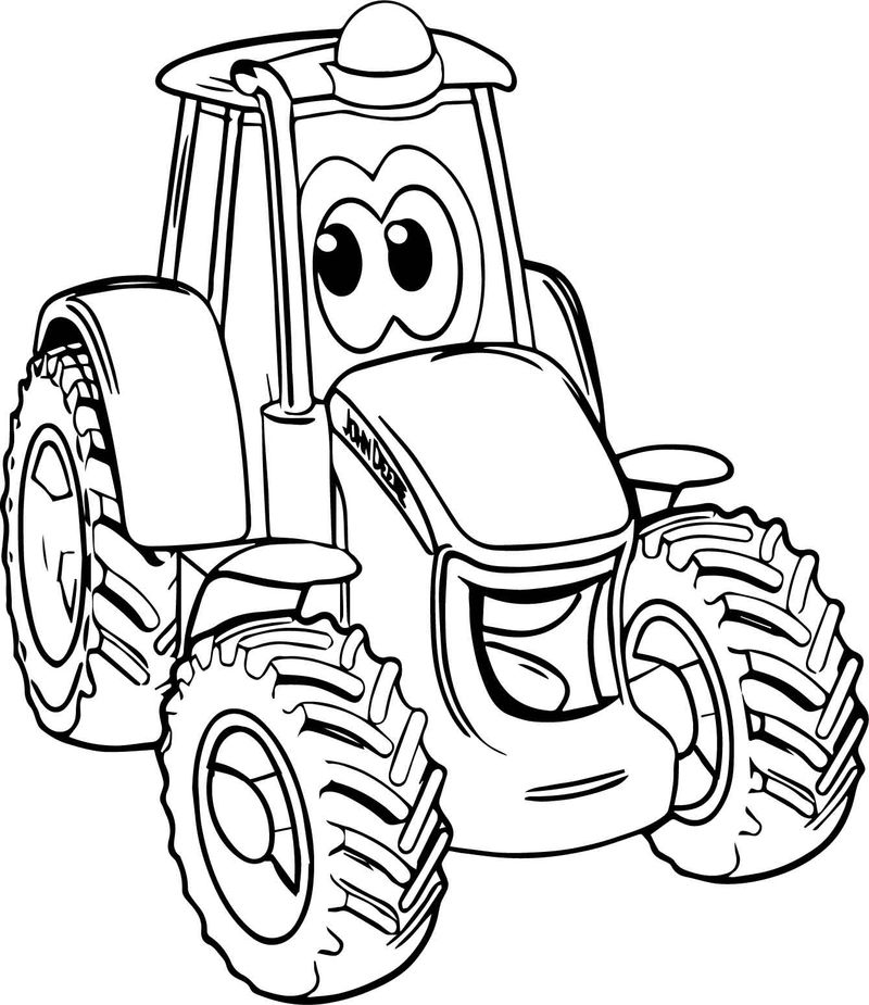 Smile John Deere Tractor Coloring Page