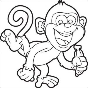Smile monkey coloring page printable