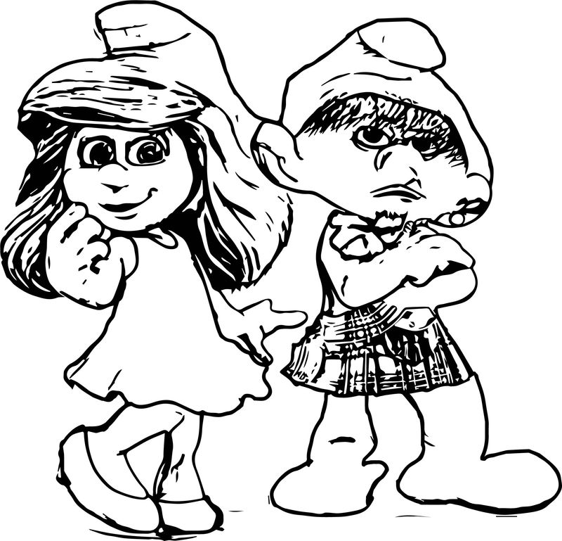 Smurf Me And My Girl Coloring Page