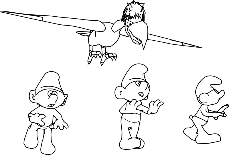 Smurfs And Howlibird To Run Away In Various Directions Picture Coloring Page