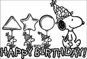 Snoopy birthday cards coloring page