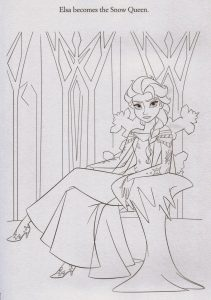 Snow queen elsa coloring page printable