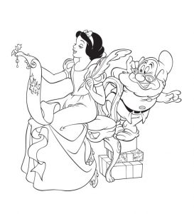 Snow white and doc disney christmas coloring pages