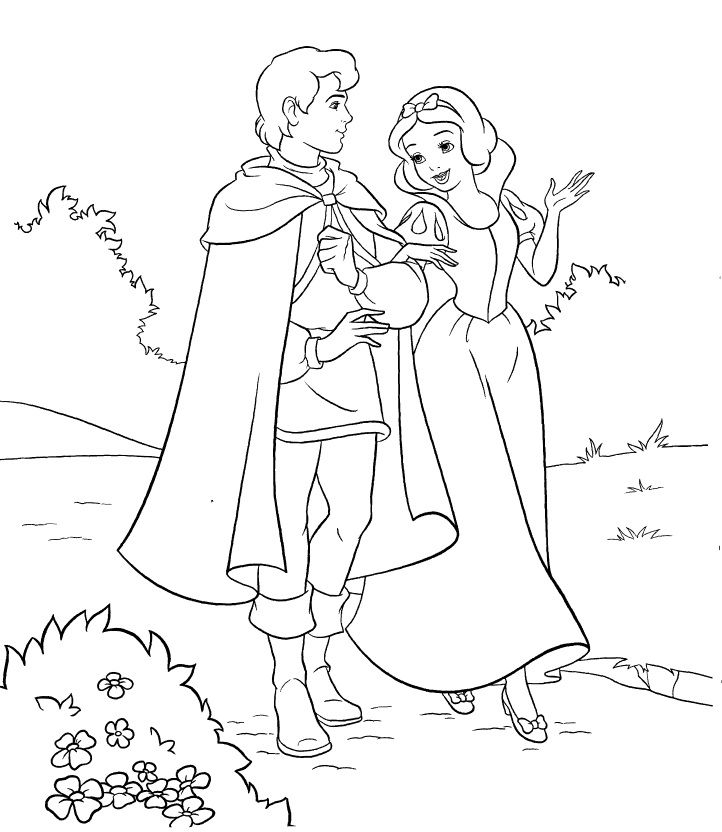 Snow White And Her Prince Coloring Page 001