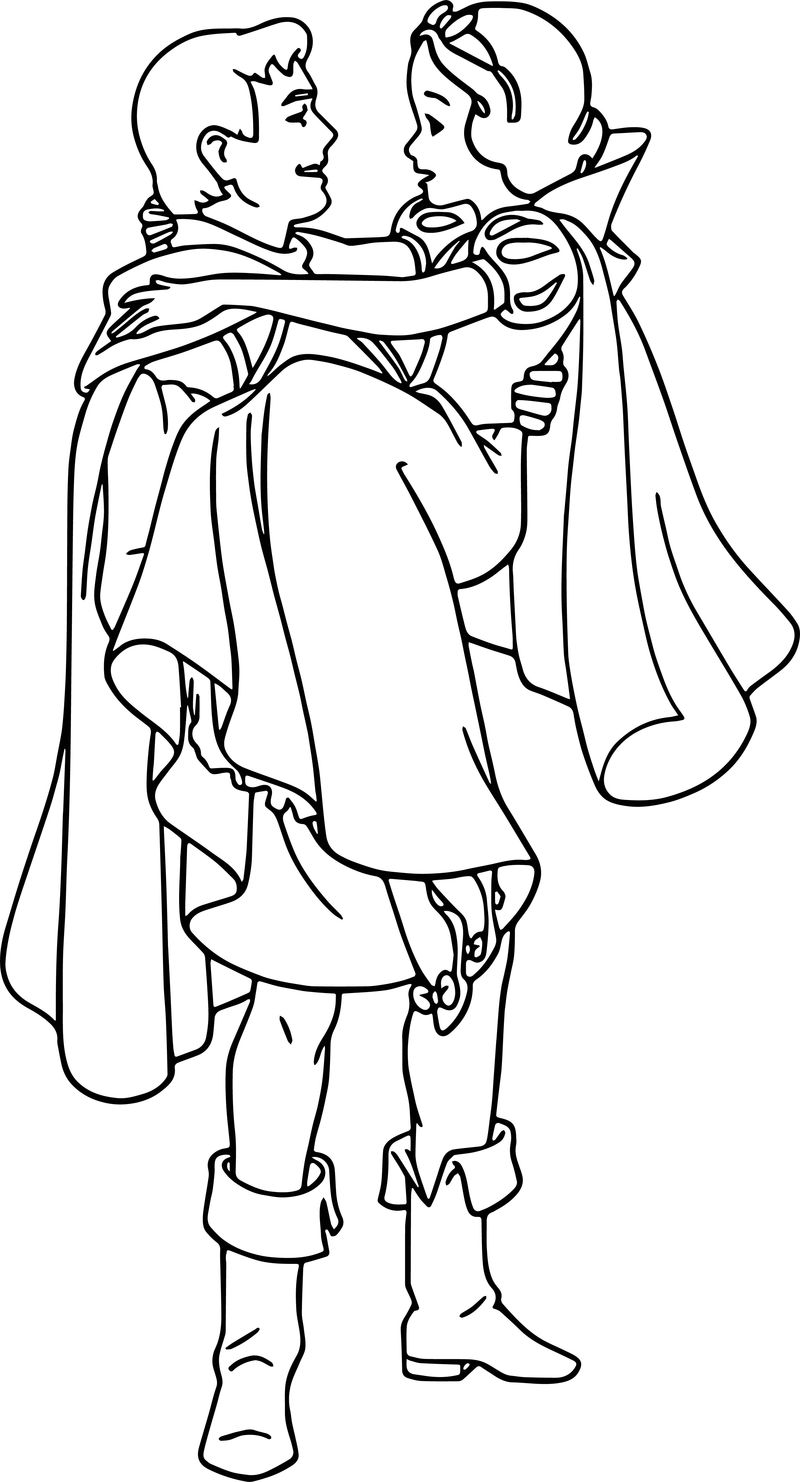Snow White And The Prince Rescue Coloring Page
