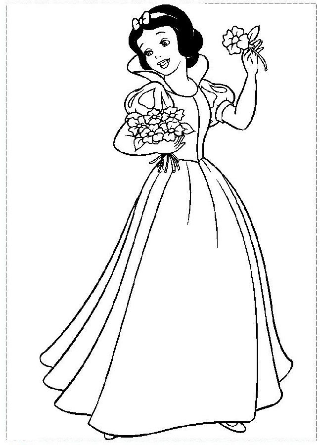 Snow White Color Pages Flowers