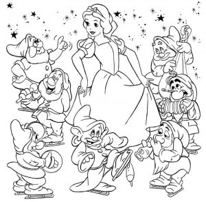 Snow white color pages for coloring