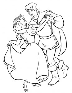 Snow white color pages preschool