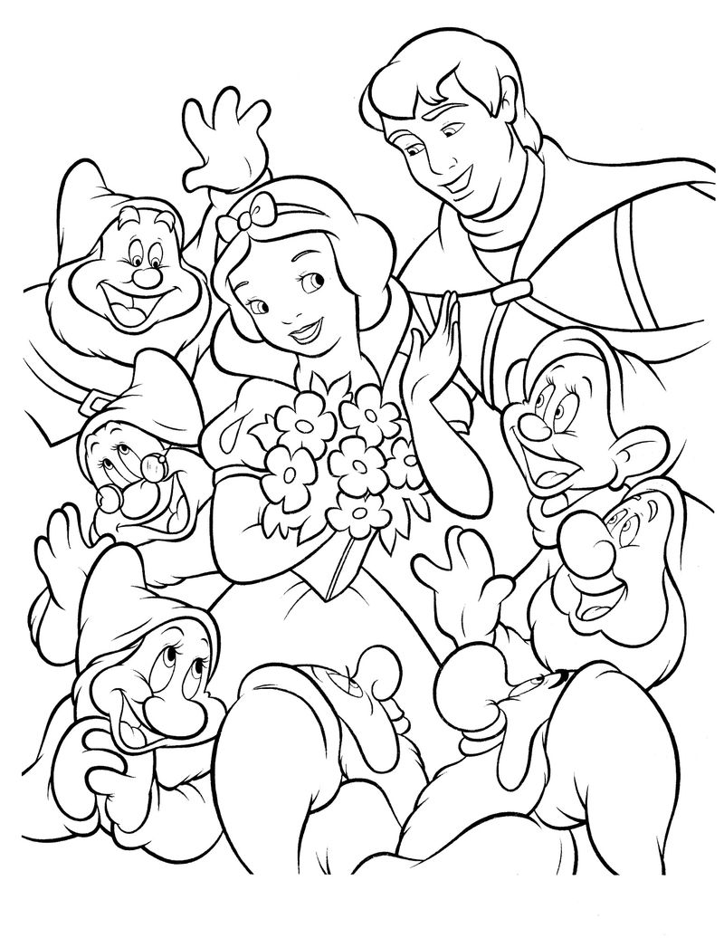 Snow White Color Pages Simple