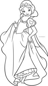 Snow white girl princess dance coloring page
