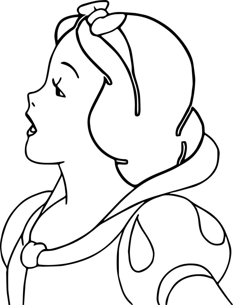 Snow White Side Face Talking Coloring Page