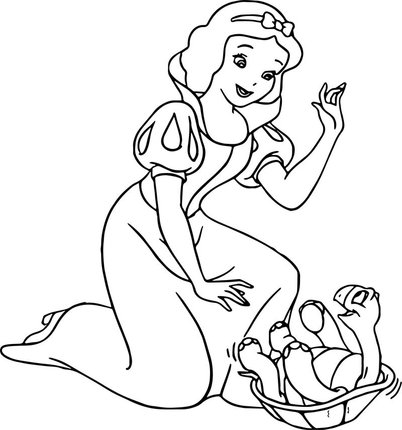 Snow White Turtle Coloring Page