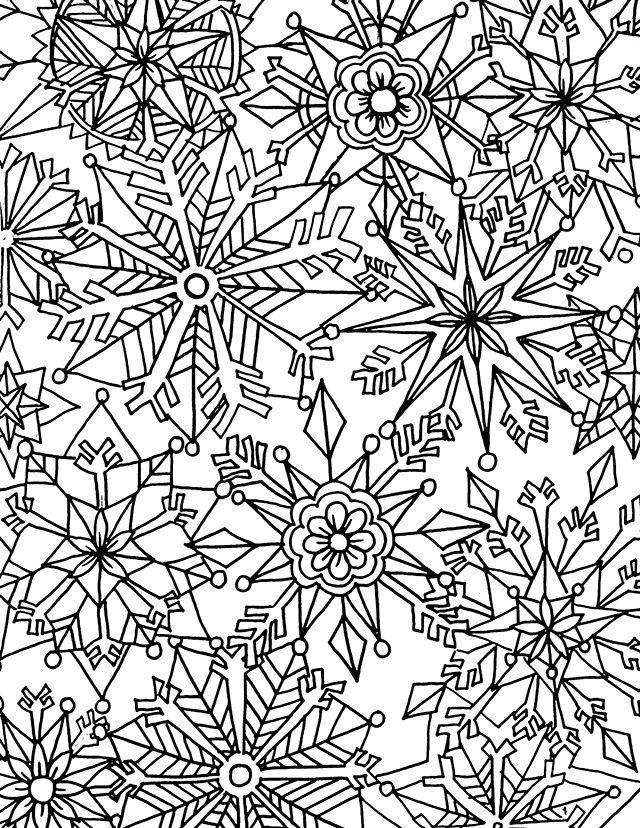 Snowflakes Winter Coloring Page For Adults