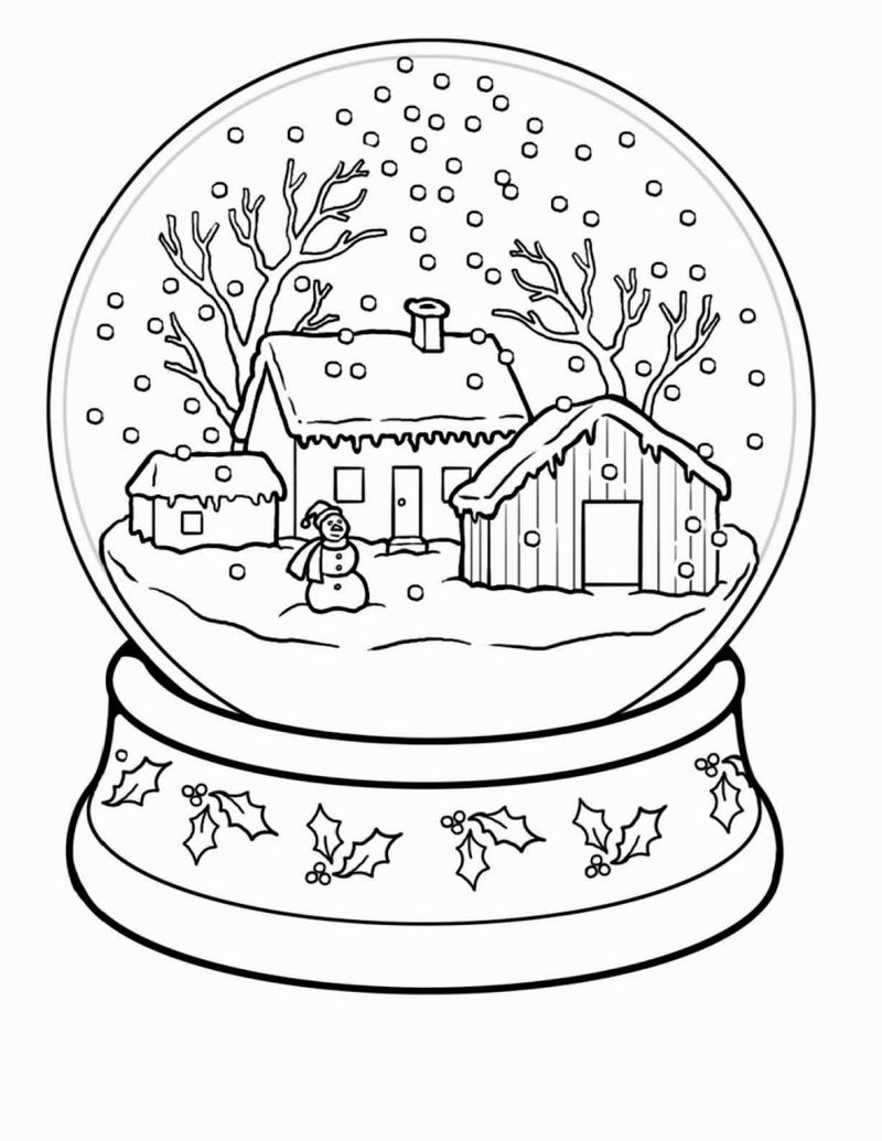 Snowglobe Winter Coloring Pages For Adults