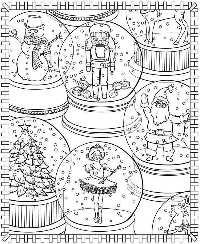 Snowglobes Winter Coloring Pages For Adults