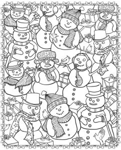 Snowman christmas coloring pages for adults