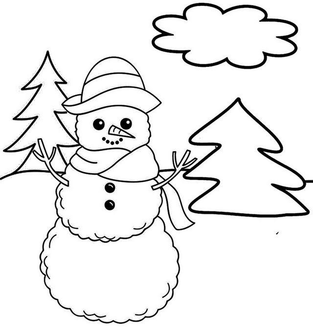 Snowman Winter Coloring And Drawing Page