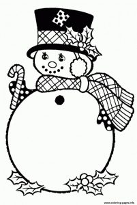 Snowman with candy cane coloring pages