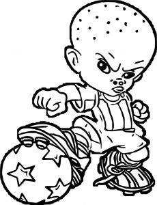 Soccer baby boy coloring page