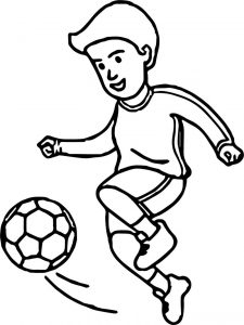 Soccer cartoon playing football coloring page