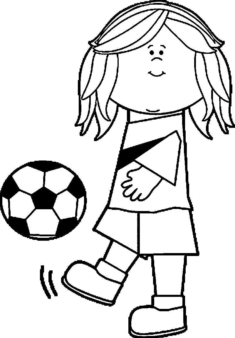 Soccer Girl Playing Football Coloring Page Coloring Sheets