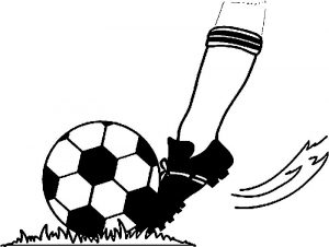 Soccer image football player kicking a football playing football coloring page