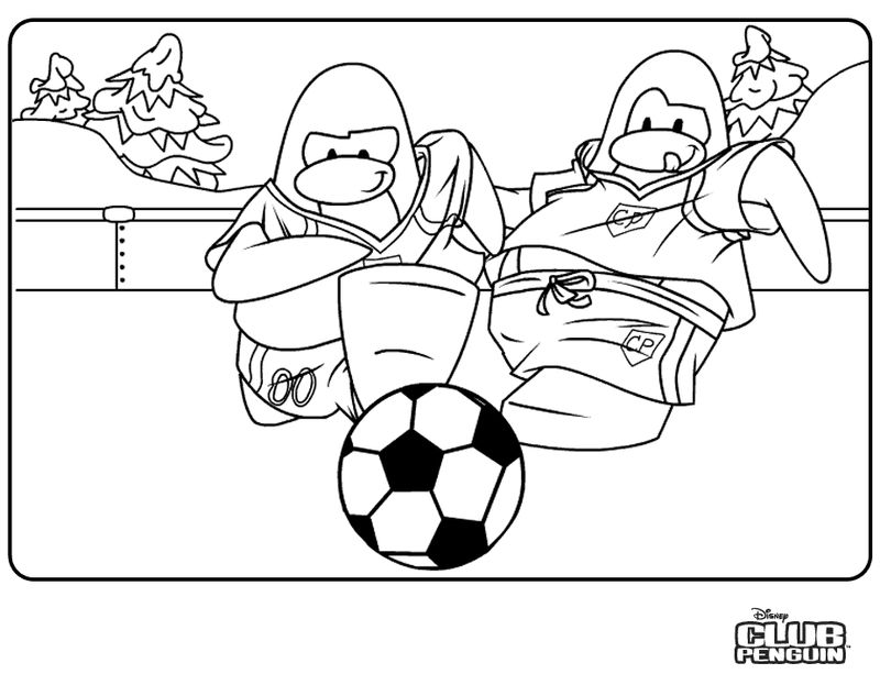 Soccer Penguins Coloring Pages