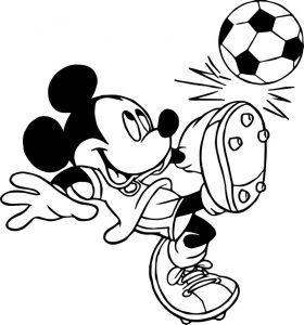Soccer player mickey mouse kicks ball playing football coloring page