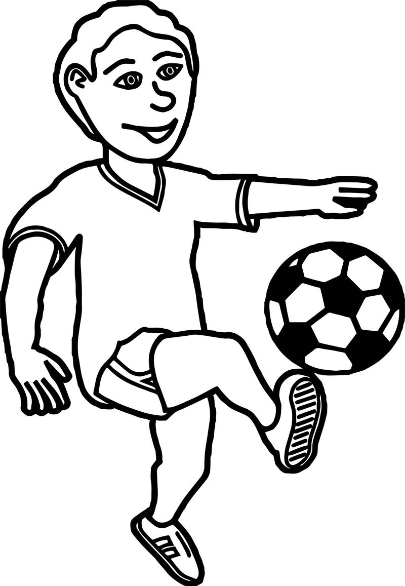 Soccer Playing Football Children Coloring Page