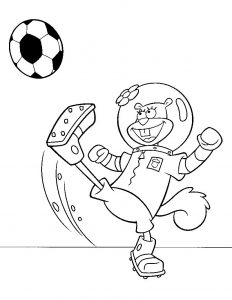 Soccer sandy spongebob coloring pages