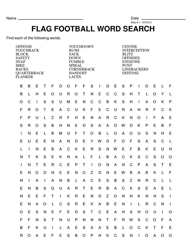 Soccer Word Search Flag