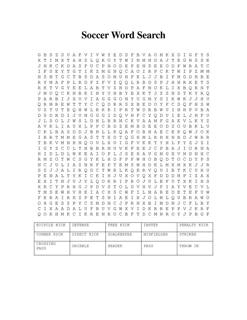 Soccer Word Search Free