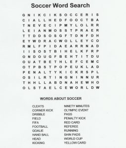 Soccer word search new