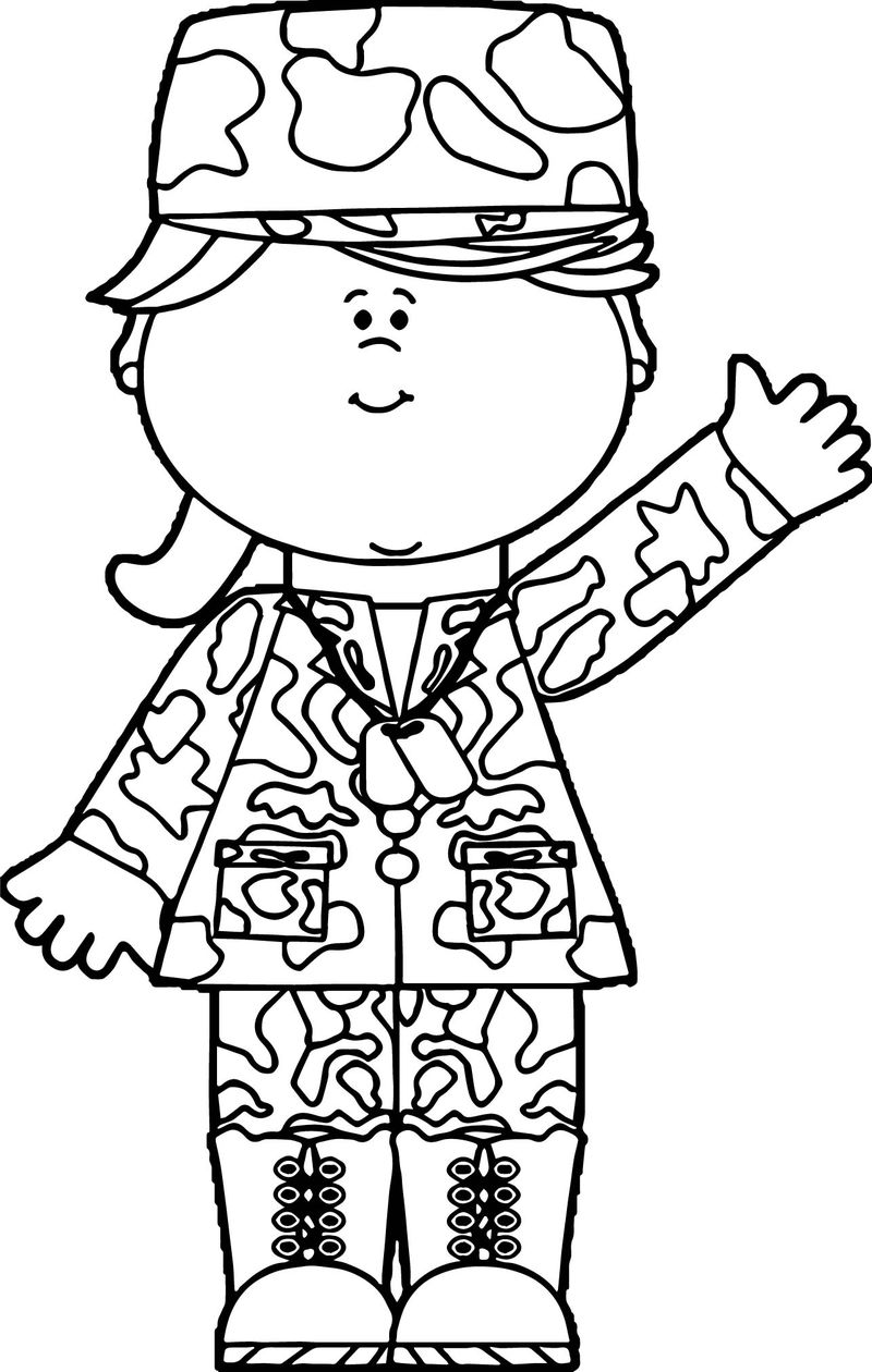 Soldier Girl Waving Coloring Page