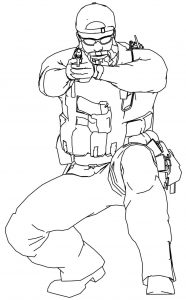 Soldier gun cartoon front view coloring page