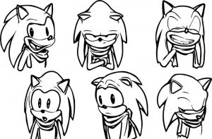 Sonic the hedgehog faces coloring page