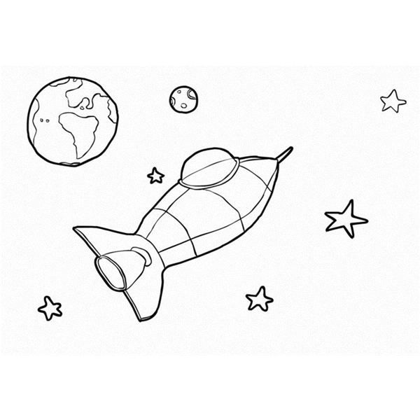 Spaceship And Planet Earth Coloring Page