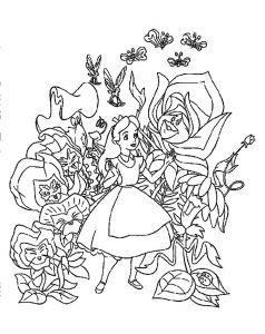 Speaking flowers and alice in wonderland coloring pages