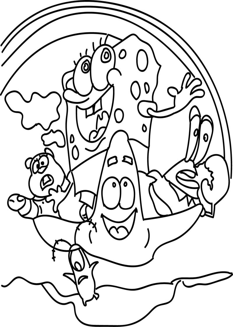 Sponge Sunger Bob Out Of Water Sea Wave Fly Coloring Page