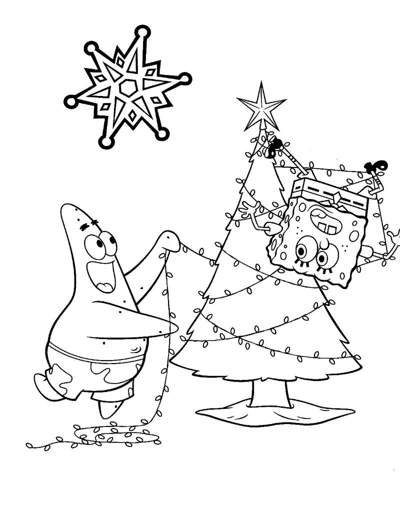 Spongebob Christmas Coloring Pages 1