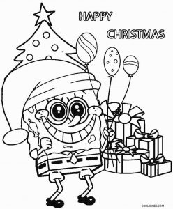 Spongebob christmas presents coloring page