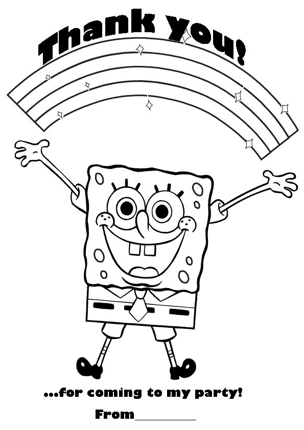 Spongebob Thank You Coloring Card