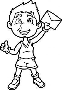Sport boy winner post coloring page