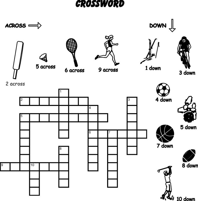 Sports Crossword Puzzles For Kids Free 001