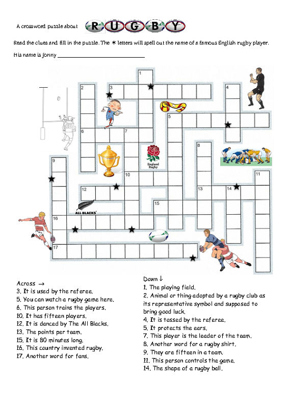 Sports Crossword Puzzles For Kids Rugby 001