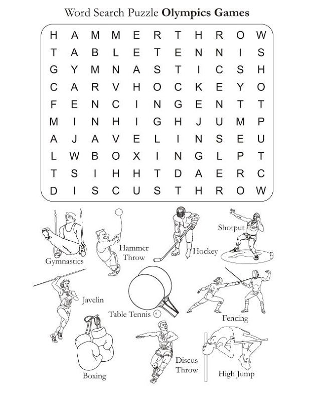 Sports Word Searches Olympics