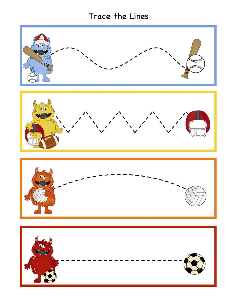 Sports Worksheets For Kids Trace
