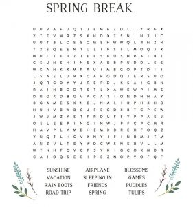 Spring break word search