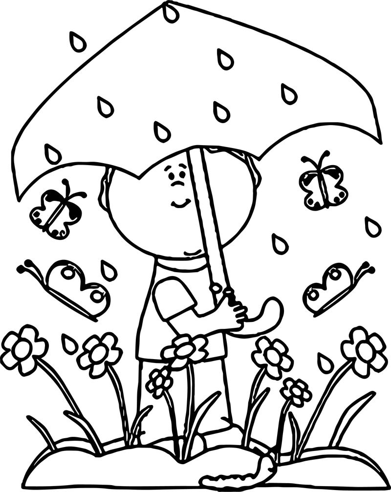 Spring Butterfly Flower Umbrella Rain Coloring Page